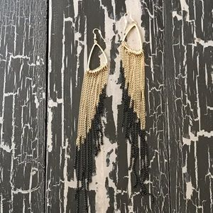 Jewelry - Black and Gold Chain Earrings
